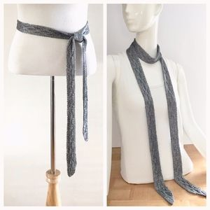 Metallic Grey Knit Belt/Neck Wrap